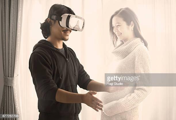 Man using a virtual reality headset.