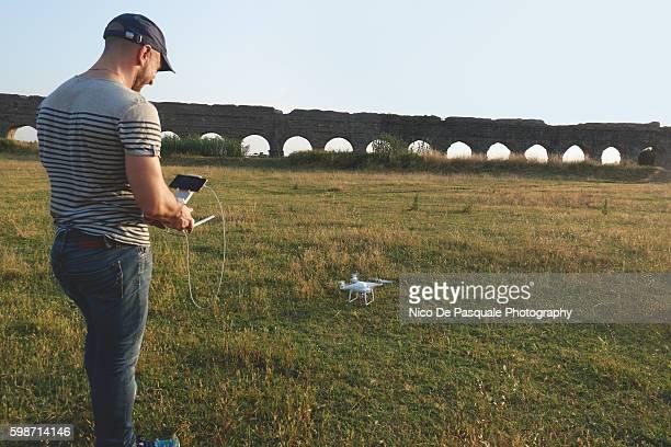 Man using drone