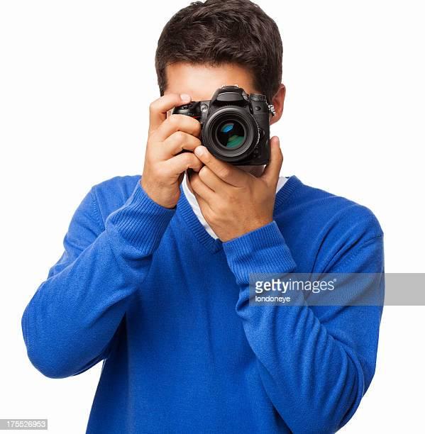 Man Using DSLR Camera - Isolated
