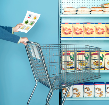 Man using images of food as as a shopping list - gettyimageskorea