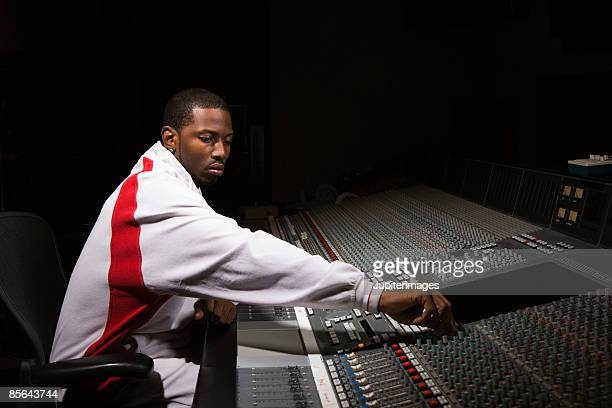 Man using mixing board