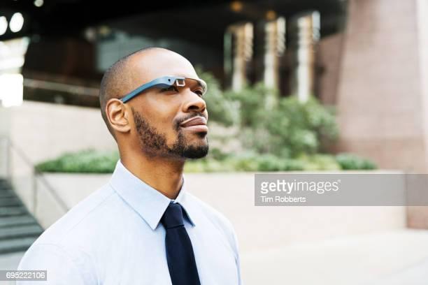 Man using smart glasses