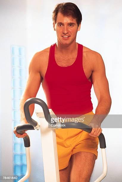 Man using stair machine