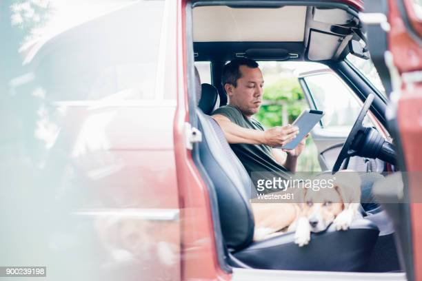 Man using tablet in car with dog on passenger seat