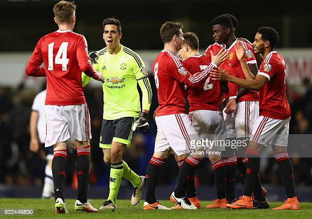 Man Utd celebrate at full time after their 32 win during the U21 Barclays Premier League match between Tottenham Hotspur and Manchester United at...