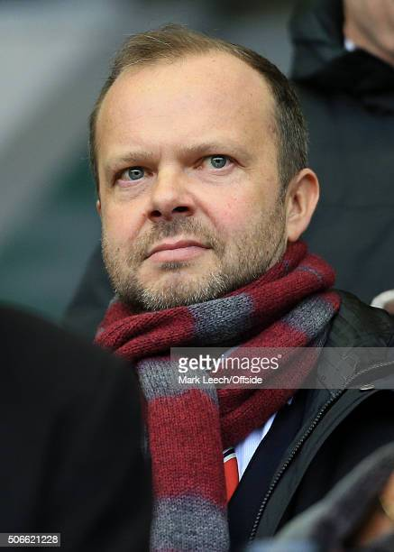 Man Utd Chief Executive Ed Woodward looks on during the Barclays Premier League match between Liverpool and Manchester United at Anfield on January...