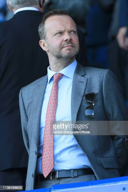 Man Utd Chief Executive Ed Woodward looks on during the Premier League match between Everton and Manchester United at Goodison Park on April 21, 2019...