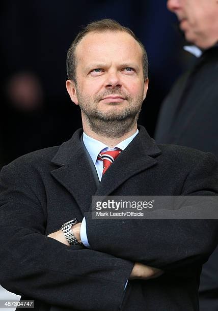 Man Utd Chief Executive Ed Woodward looks on prior to the Barclays Premier League match between Everton and Manchester United at Goodison Park on...