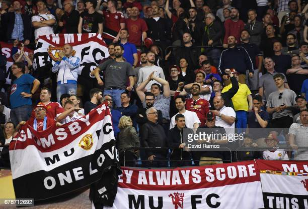 Man Utd fans celebrate after the UEFA Europa League semi final first leg match between Celta Vigo and Manchester United at the Estadio Balaidos on...