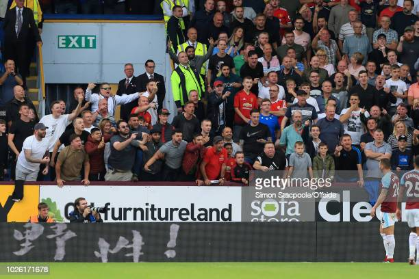 Man Utd fans shout abuse at Philip Bardsley of Burnley during the Premier League match between Burnley and Manchester United at Turf Moor on...