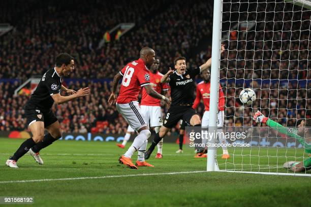 Man Utd goalkeeper David De Gea is unable to stop Wissam Ben Yedder of Sevilla scoring his 2nd goal during the UEFA Champions League Round of 16...