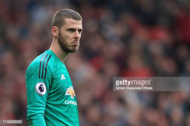 Man Utd goalkeeper David De Gea looks dejected after his error led to Chelsea's opening goal during the Premier League match between Manchester...