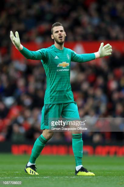 Man Utd goalkeeper David De Gea looks dejected during the Premier League match between Manchester United and Wolverhampton Wanderers at Old Trafford...