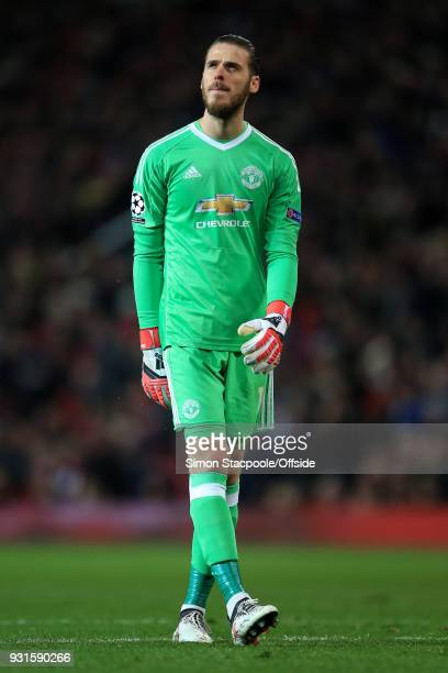 Man Utd goalkeeper David De Gea looks dejected during the UEFA Champions League Round of 16 Second Leg match between Manchester United and Sevilla FC...