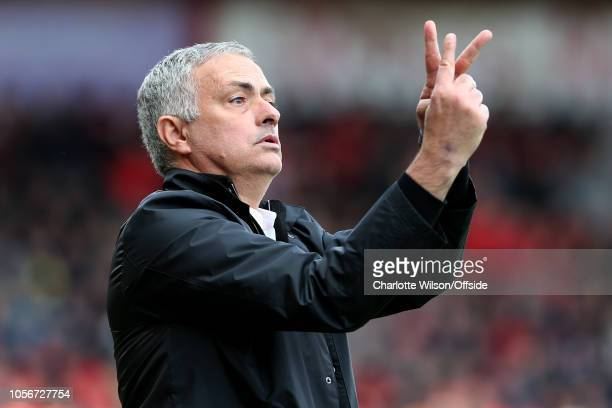 Man Utd manager Jose Mourinho gesticulates from the touchline during the Premier League match between AFC Bournemouth and Manchester United at...