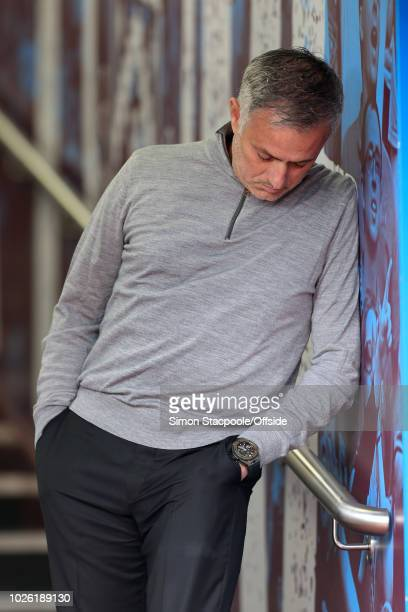 Man Utd manager Jose Mourinho looks at his watch before the Premier League match between Burnley and Manchester United at Turf Moor on September 2...