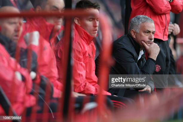Man Utd manager Jose Mourinho looks bored during the Premier League match between AFC Bournemouth and Manchester United at Vitality Stadium on...