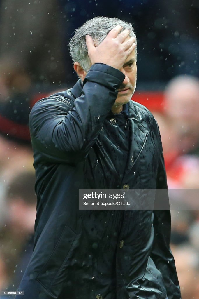 Man Utd manager Jose Mourinho looks dejected following the Premier League match between Manchester United and West Bromwich Albion at Old Trafford on April 15, 2018 in Manchester, England.