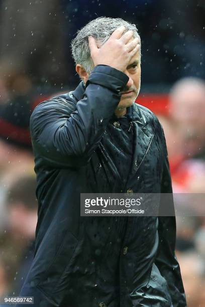 Man Utd manager Jose Mourinho looks dejected following the Premier League match between Manchester United and West Bromwich Albion at Old Trafford on...
