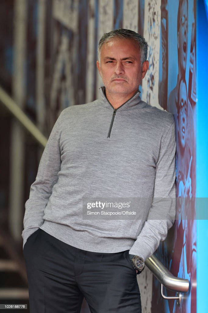 Man Utd manager Jose Mourinho looks on ahead of the Premier League match between Burnley and Manchester United at Turf Moor on September 2, 2018 in Burnley, England.
