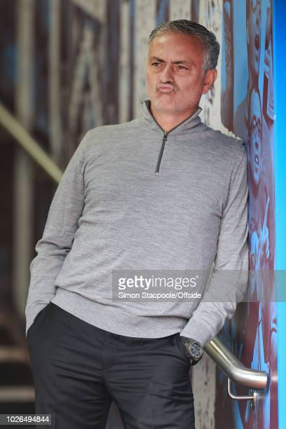 Man Utd manager Jose Mourinho looks on ahead of the Premier League match between Burnley and Manchester United at Turf Moor on September 2 2018 in...