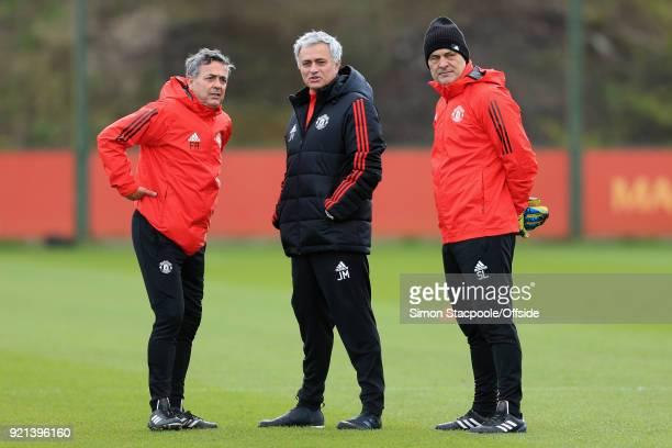 Man Utd manager Jose Mourinho looks on alongside goalkeeping coach Silvino Louro and assistant Ricardo Formosinho during a training session ahead of...