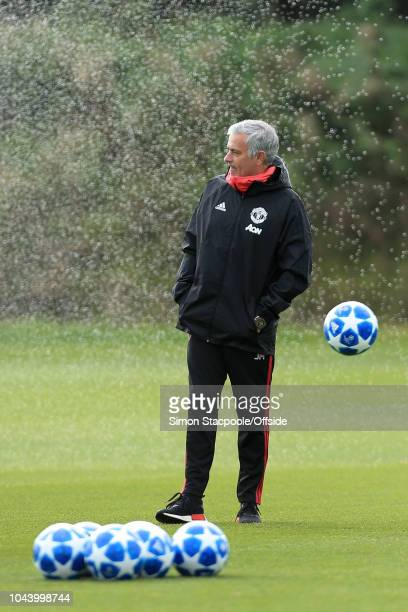 Man Utd manager Jose Mourinho looks on during a training session ahead of their UEFA Champions League Group H match against Valencia at the Aon...