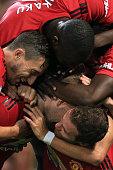 manchester england man utd players celebrate