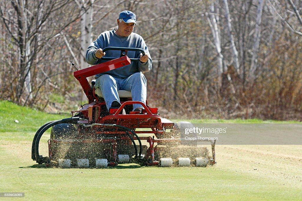 Man Verticutting Golf Course Putting Green Stock Photo