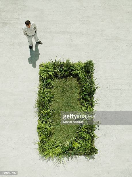 Man viewing lush lawn in cement courtyard
