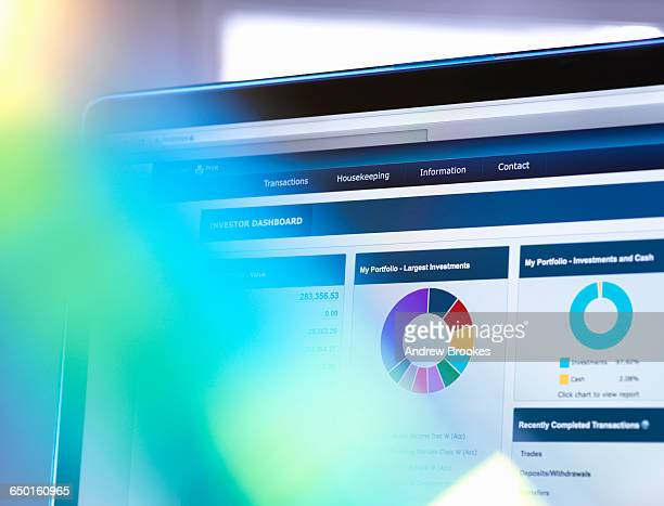 Man viewing online portfolio of investments for savings and pension
