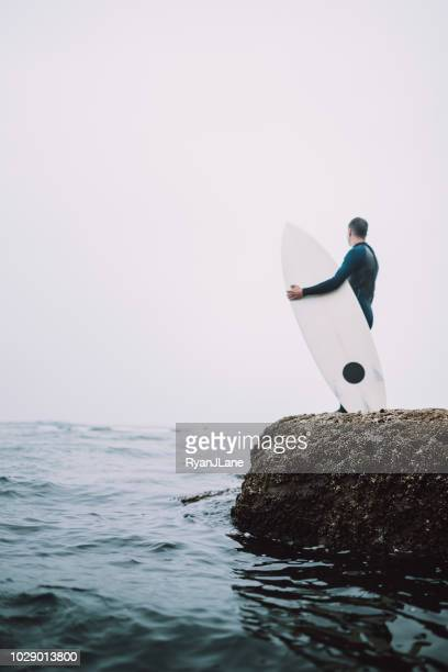 man viewing surf at oregon coast on overcast day - oregon coast stock pictures, royalty-free photos & images