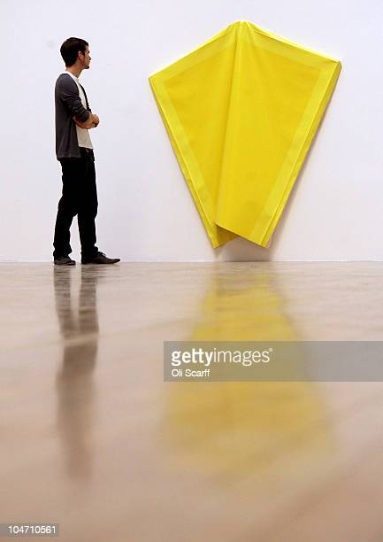 A man views an artwork by Angela de la Cruz which has been shortlisted for the Turner Prize 2010 and displayed in the Tate Britain gallery on October...