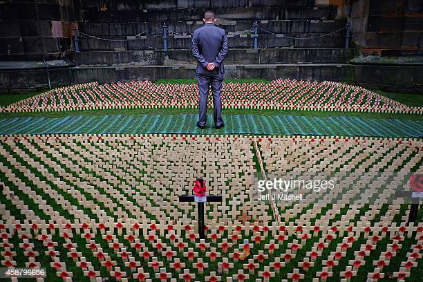 A man views crosses in the garden of remembrance in Princess Street Gardens on Armistice Day on November 11 2014 in Edinburgh Scotland A two minute...