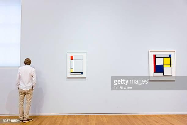 Man views Piet Mondrian oil on canvas paintings in 20th Century Gallery at Rijksmuseum Amsterdam