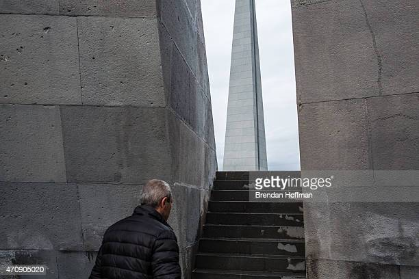 A man visits the Armenian genocide memorial before a program of commemoration on April 24 2015 in Yerevan Armenia Armenians today are marking the one...