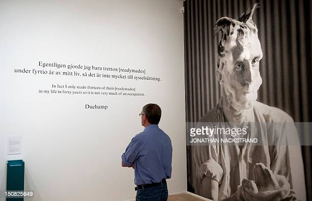 A man visits the exhibition Picasso/Duchamp 'He was wrong' dedicated to Spanish artist Pablo Picasso and French artist Marcel Duchamp on August 23...