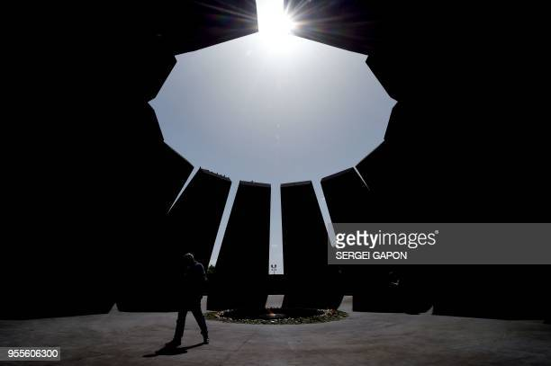 A man visits the Tsitsernakaberd Armenian Genocide Memorial in Yerevan on May 7 2018