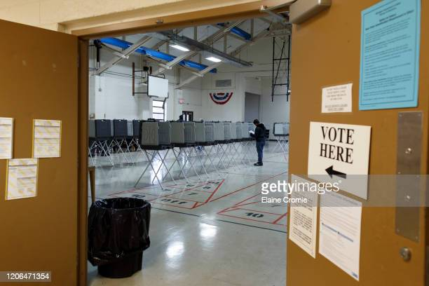 Man votes the Fitzgerald Recreation Center on March 10, 2020 in Warren, Michigan. Michigan is one of six states voting in the Democratic presidential...