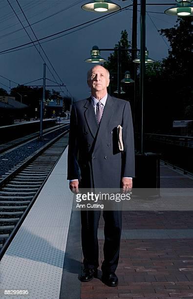 Man waiting at train station