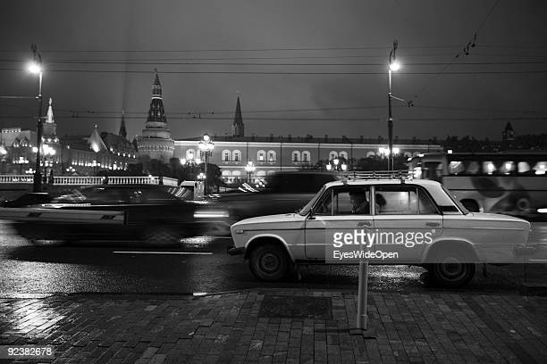 Man waiting for Car assistance in his Lada at Place of the Revolution near the Kreml Palace on October 14 2009 in Moscow Russia Moscow is the biggest...