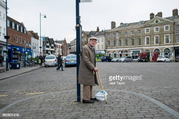 A man waits for a bus in the town centre on May 13 2017 in Boston United Kingdom The town of Boston in Lincolnshire voted with a 75% majority to...