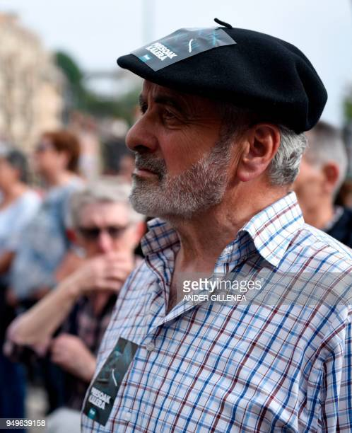A man waits for the start of a demonstration called by the Kalera Kalera Initiative calling for ETA prisonners to be transferred closer to their...
