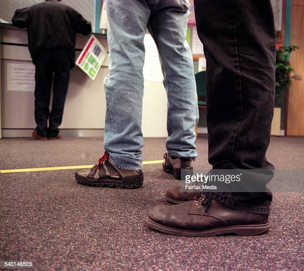 A man waits in line at Centrelink 8 November 1996 AFR Picture by VIRGINIA STAR