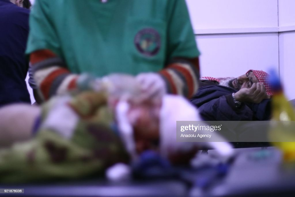 A man waits to receive medical treatment at a field hospital as Assad Regime forces carried out airstrikes over Arbin town of the Eastern Ghouta region, which is a de-escalation zone of Damascus in Syria on February 20, 2018.