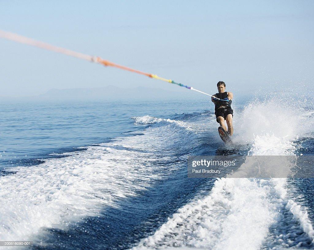 Man wakeboarding at sea : Stock Photo