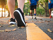 Man walk in park outdoor People exercise healthy lifestyle
