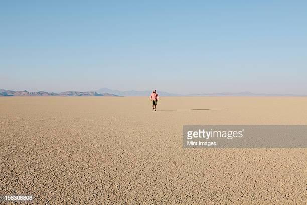 man walking across a flat desert landscape - nevada stock-fotos und bilder