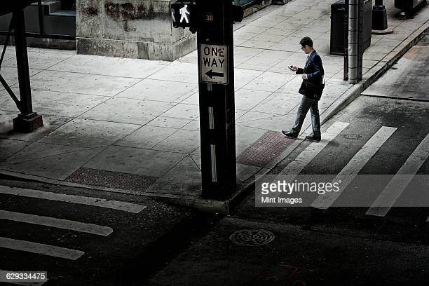 A man walking across a street crossing, looking at a phone in his hand.