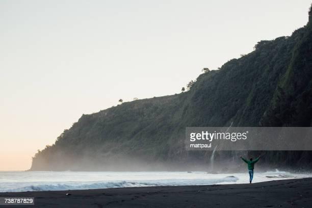 Man walking along black sandy beach with his arms in the air, waipio Valley, Kakuihaele, Hamakua, Hawaii, America, USA